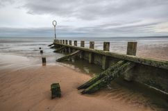 Old wood and stone groyne structure covered with green algae. On Portobello beach in low tide with North sea in the backgroud shot on overcast day. Edinburgh Stock Image