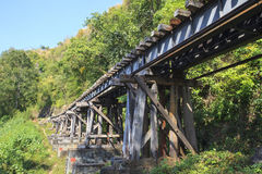 Old wood structure of dead railways bridge importand landmark an Royalty Free Stock Image