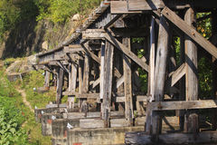 Old wood structure of dead railways bridge important landmark an Royalty Free Stock Image