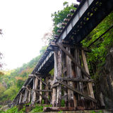 Old wood structure of dead railways bridge Stock Images
