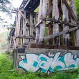Old wood structure of dead railways bridge Royalty Free Stock Images