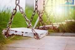 Old wood swing in park Royalty Free Stock Photos