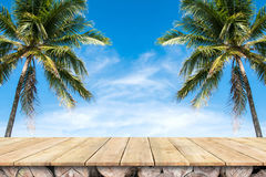 Old wood table top with coconut trees and blue sky background. Old wood table top with coconut trees and blue sky royalty free stock photo