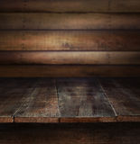 Old wood table with wooden background Royalty Free Stock Photography