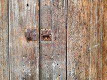 wood texture with hasp Royalty Free Stock Photo