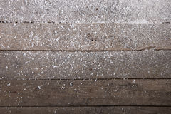 Old wood texture with snow christmas background stock photography