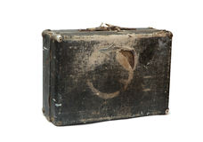 Old wood travel bag. Isolated over white Stock Image