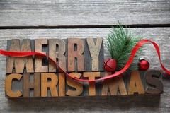 Old wood type Merry Christmas Stock Image