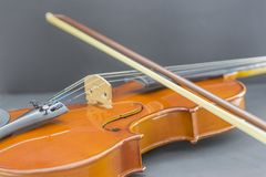 Old wood violin in detail royalty free stock photography