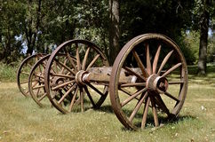Old wood wagon wheels Stock Photos