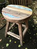 Old chair in the garden. Old wood wall table Royalty Free Stock Photos