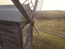 Old wood windmill aerial shot