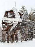 Old wood windmill in winter Royalty Free Stock Image