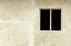 Old wood window is open. On cement wall royalty free stock images