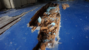 Old Wood window sill macro. Old rotting wooden window sill macro Royalty Free Stock Photography