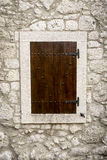 Old Wood Window. On Stone Wall Royalty Free Stock Photos
