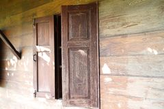 Old wood window wth the country style house. In thailand stock image