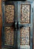 Antiques wood windows, Asia wood craftsmanship, Wood texture,. A old wood windows. Beautiful art paint on wood Thai stye craftsmanship stock photos