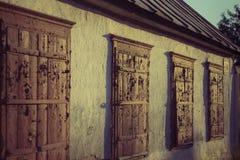 Old wood windows on sunset Royalty Free Stock Photo