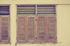 Old wood windows vintage color tone. Royalty Free Stock Photography