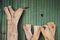Old wood with zinc sheet. Background Stock Images
