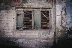 Old woode window without glass. Old wooden retro window without glass shutters Royalty Free Stock Images