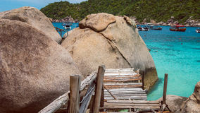Old Wooded Path to Big Granit Rocks of Koh Nang Yuan, Beautiful island, near KohTao, Thailand.  Royalty Free Stock Image