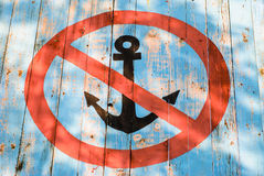 Old wooden 'No Anchors' sign Royalty Free Stock Photos
