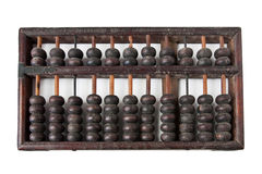 Old wooden abacus. On white Royalty Free Stock Photo