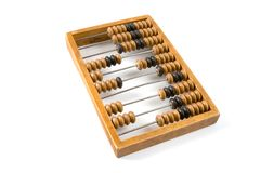 Old wooden abacus. Old wooden abacus with a calculated sum Royalty Free Stock Photos