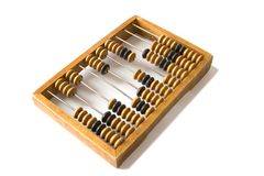 Old wooden abacus. With a calculated sum Stock Photo