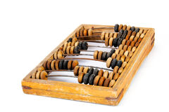 Old wooden abacus with a calculated sum Stock Photo