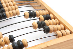 Old wooden abacus with a calculated sum Royalty Free Stock Photo