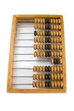 Old wooden abacus, front view. Old wooden abacus on white Royalty Free Stock Photo