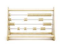 Old wooden abacus front view  on a white background. 3d Stock Photo