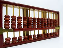 Old wooden abacus isolated on white background stock image