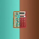Old wooden abacus and new calculator on colored background. The collage with old wooden abacus and new calculator on colored background. The concept of Stock Image
