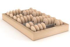 Old wooden abacus on a white background. 3D image stock illustration