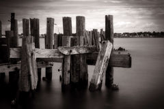 Old Wooden Abandoned Pier Structure Ruins Royalty Free Stock Images