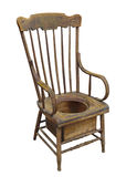 Old wooden adult potty chair isolated. Stock Photos