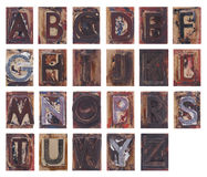 Old wooden alphabet letters Stock Photos