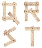 Old wooden alphabet letters made of wood planks Royalty Free Stock Photo