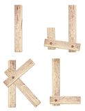 Old wooden alphabet letters made of wood planks Stock Photo
