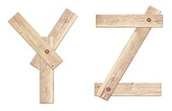 Old wooden alphabet letters made of wood planks Royalty Free Stock Photos