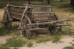 Old wooden antique wagon on display in a public park, Belgrade, Serbia Stock Image