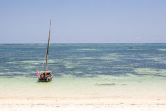 Old wooden arabian dhow in the ocean Stock Image
