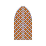 Old wooden arch door with metal lattice icon Royalty Free Stock Photography