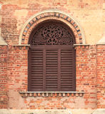 Old Wooden Arch Window Stock Photo