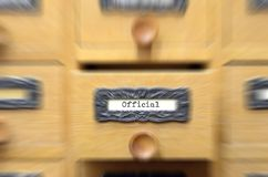 Old wooden archive files catalog drawer, Official files. The Archives Card Catalog , old wooden file catalog box, index , database, archive and library concept royalty free stock photo
