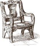 Old wooden armchair Stock Images